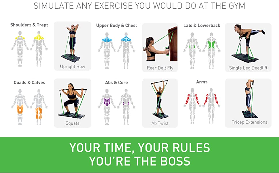 BodyBoss 2.0 - Full Portable Home Gym Workout Package + Resistance Bands - Collapsible Resistance Bar, Handles - Full Body Workouts for Home, Travel or Outside 18