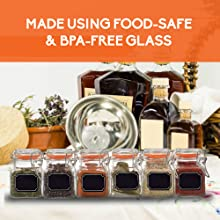 bpa free glass jars spice containers with lids airtight spice jars square mini glass jar for spices