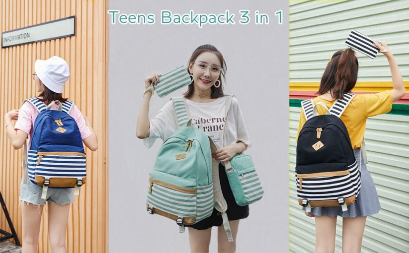 School Bacpack Lightweight Canvas Laptop Backpacks for Men Women Daypacks Stripe Rucksack Bookbags