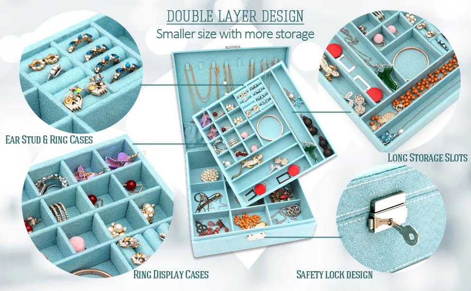 KLOUD City Two-Layer lint Jewelry Box Organizer Display Storage case with Lock (Blue) …