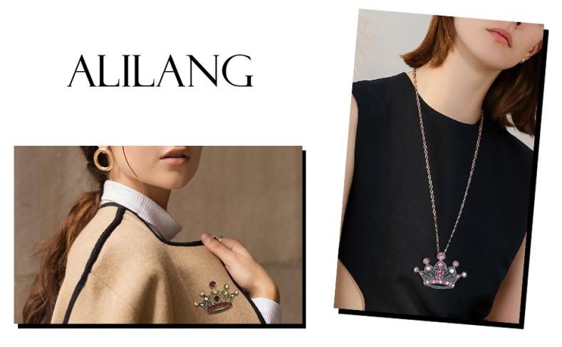 Alilang Silvery Tone Pink Colored Rhinestones Princess Queen Crown Brooch Pin