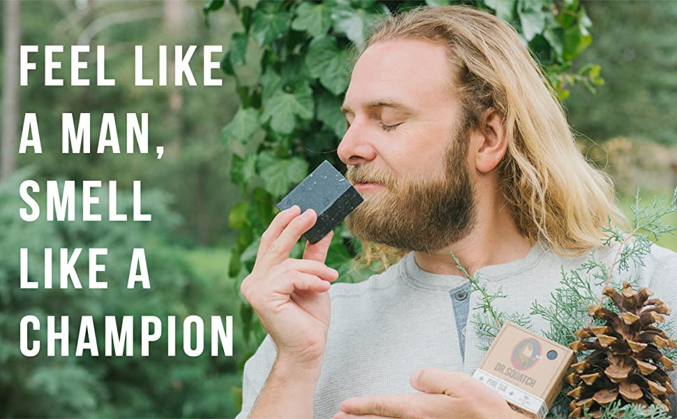 pine tar soap, soap for men, guy smelling soap in pine forest, feel like a man smell like a champion