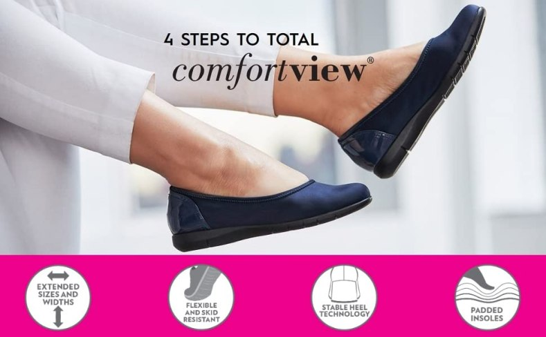 comfortview extended sizes flexible skid resistant stable heel technology padded insoles