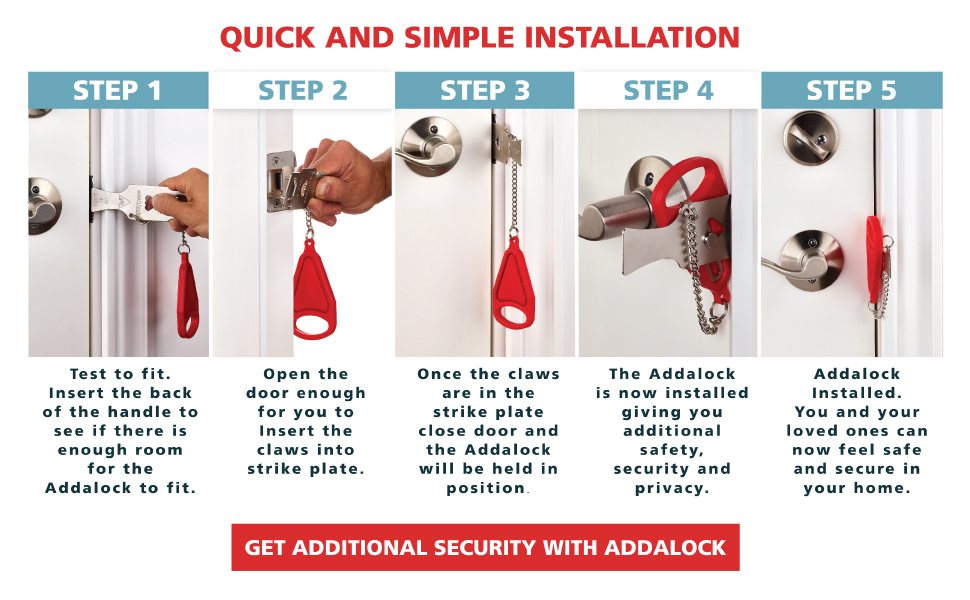 Installation Instructions for Addalock secure travel doorlock for AirBnB, families, women, students