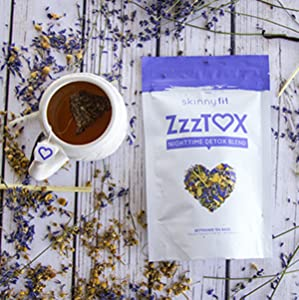 SkinnyFit ZzzTox Nighttime Detox Tea: Caffeine-Free, All-Natural, Laxative-Free, Chamomile, Lavender, Vegan, Supports Weight Loss, Helps Fight Toxins, Restful Sleep, Non-GMO, 28 Servings 18