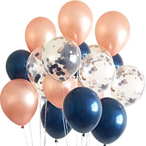 navy rose gold ballons