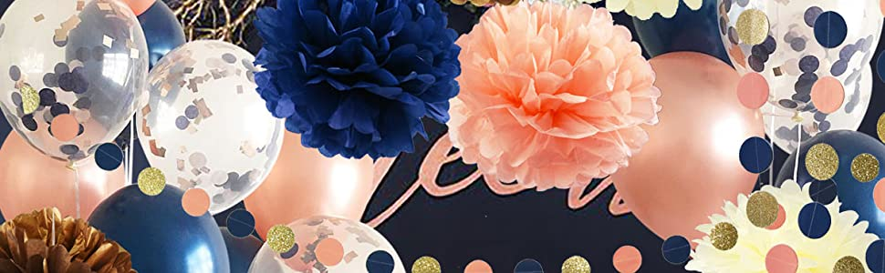 Navy rose gold peach birthday party/wedding decorations