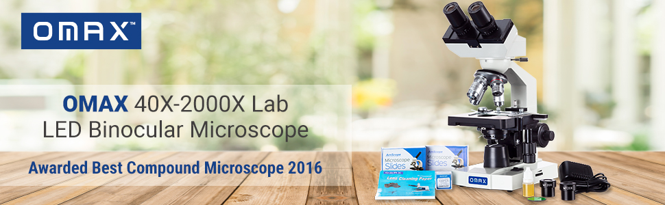 Ödüllü En İyi Bileşik Mikroskop 2016 - OMAX 40X-2000X Lab LED Binoküler Mikroskop