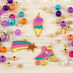 make it real rainbow dream jewelry making kit kids girls charm bracelet charms craft set tween