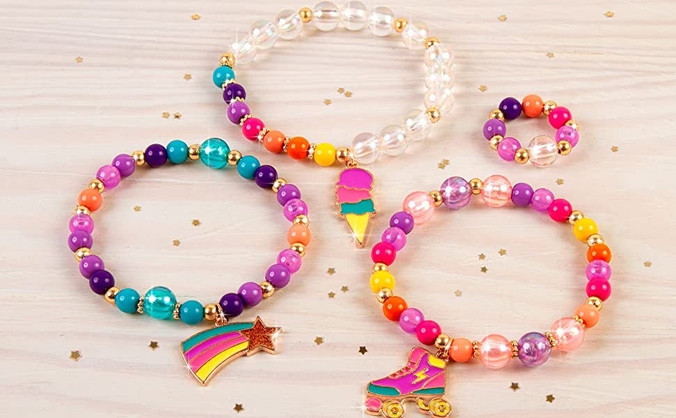 make it real rainbow dream jewelry kids bracelet charm craft kit girls activity set tween making diy