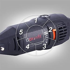 GOXAWEE Variable Speed Rotary Tool Set 5 step Rotary Tool Kit with Flex Shaft drive speed adjustable