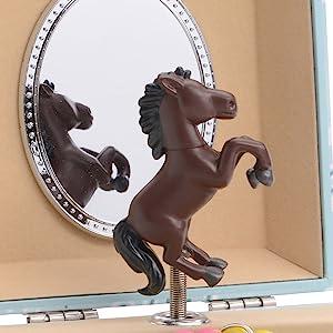 music jewelry box, horse figurine, girls jewelry box, western theme, ballerina, unicorn