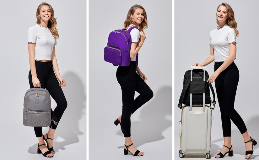 Laptop backpack in grey, purple and black