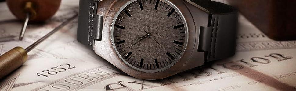 personal wood watch  custom watch   wood watch   black watch, engraved wood watch  man watch