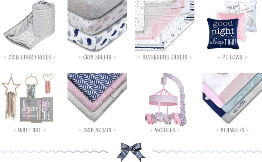 baby wall art nursery wall decor crib sheet baby quilt baby blanket crib skirt 4 piece set 4pc set