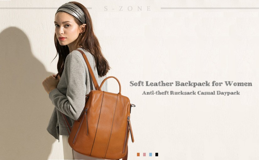 S-ZONE Soft Leather Backpack for Women Anti-theft Rucksack Ladies Waterproof Casual Daypack
