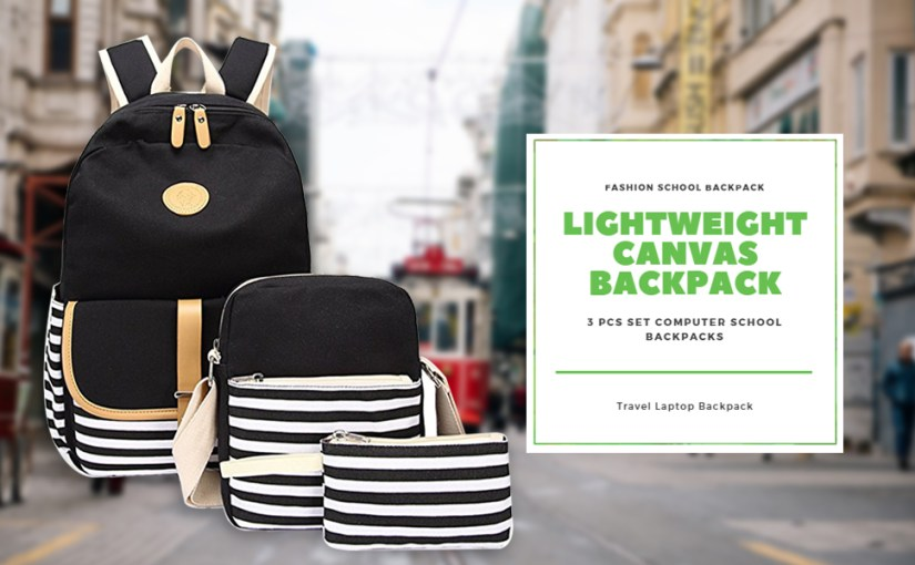 lightweight canvas backpack school laptop backpack for girls black