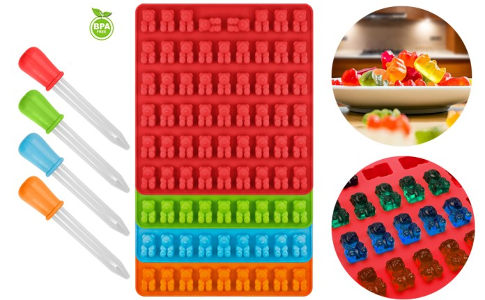 Silicone Candy MoldGummy Bear Mold with 4 Dropper for DIY Candy Jelly Cookie Chocolate Flavored Ice