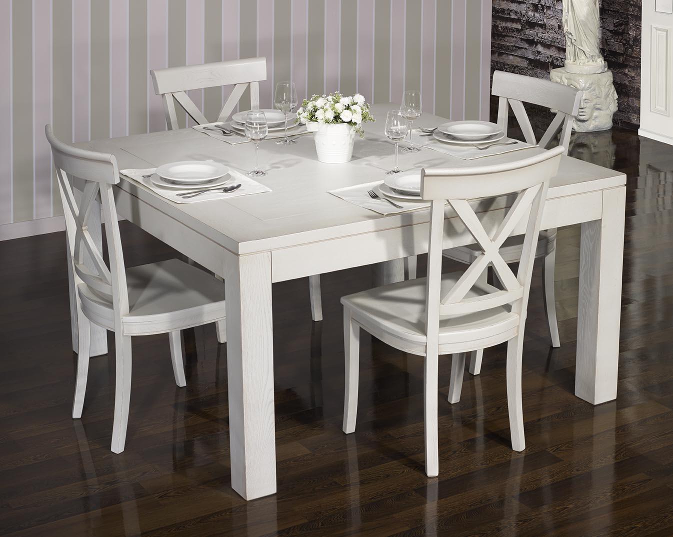 table de salle a manger 140 140 contemporaine realisee en chene finition chene brosse gris perle