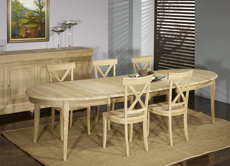 table ovale 170 110 mona realisee en chene massif de style louis philippe 5 allonges de 40 cm finition chene brosse