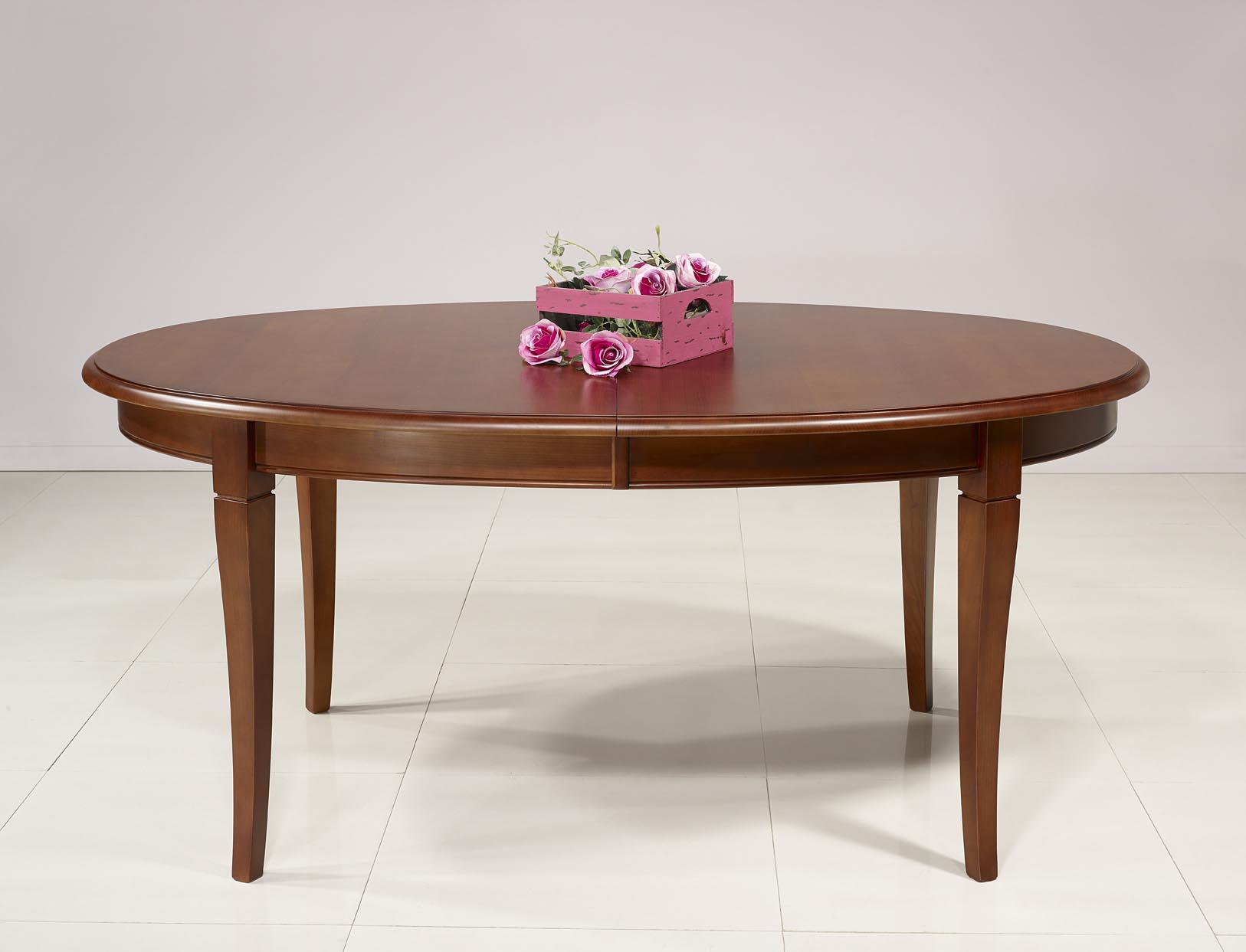 table ovale de salle a manger estelle realisee en merisier massif 170x110 de style louis philippe 4 allonges de 40 cm