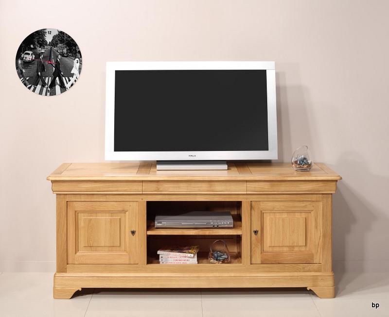 meubles tv 16 9eme julien realise en chene massif de style louis philippe longueur 180 cm