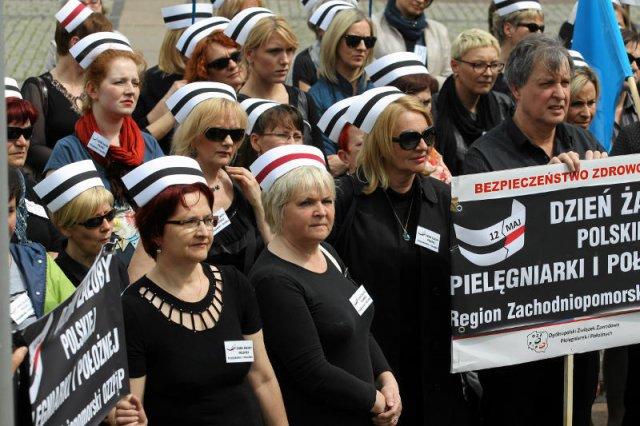 Strajkujące pielęgniarki.