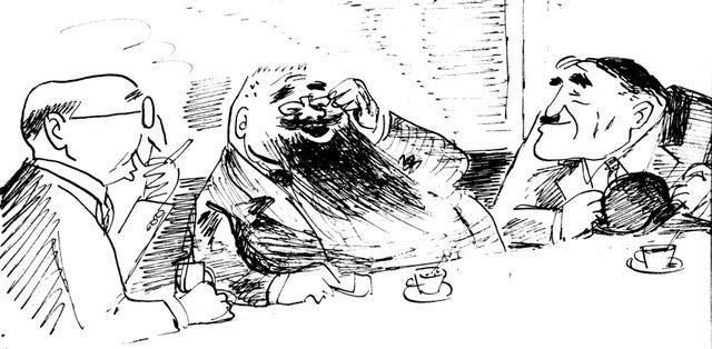 Franc Fiszer w czasie kawiarnianej dyskusji.