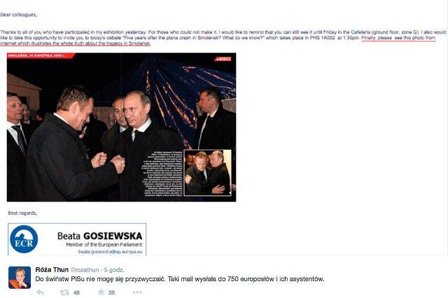 Beata Gosiewska wysłała europosłom zdjęcia przedstawiające Donalda Tuska i Władimira Putina