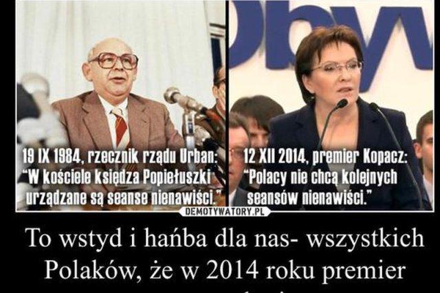 Premier Kopacz użyła tego samego określenia, co komunistyczny rzecznik Jerzy Urban. I nie tylko ona