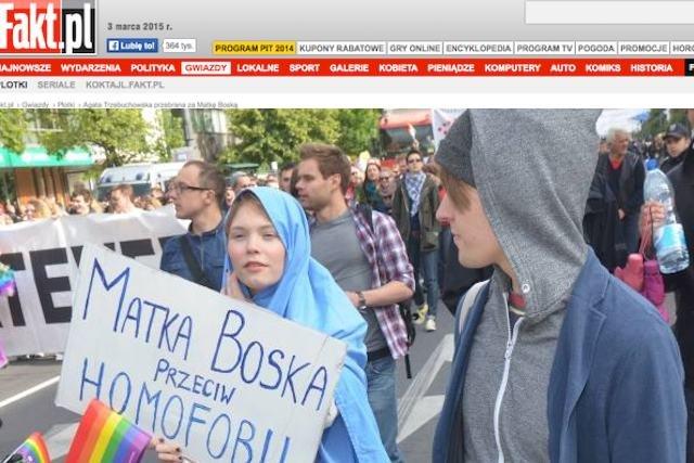 Agata Trzebuchowska na paradzie równości w 2012 roku była przebrana za Matkę Boską. To niepodoba się dzienikarzom Fronda.pl