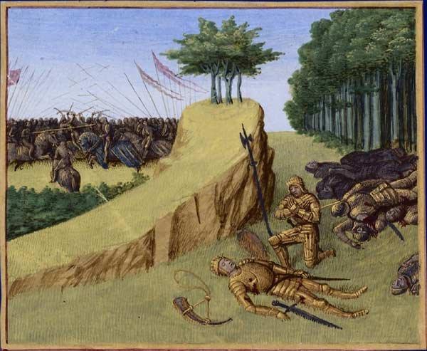 Śmierć Rolanda w bitwie w wąwozie Roncevaux, ilustracja z manuskryptu, ok. 1455-1470