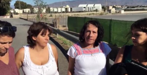 De derecha a izquierda, las responsables de Podemos: Nadia Azougagh, Carmen Martínez, Mari García y Zoe Arcanio.