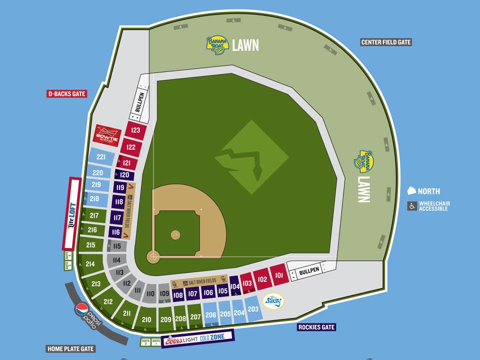 Map Of Arizona Diamondbacks Stadium.Arizona Diamondbacks Spring Training Seating Chart Wallseat Co