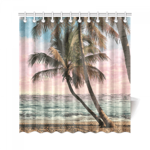 interestprint seascape home decor tropical beach palm tree polyester fabric shower curtain bathroom sets with hooks