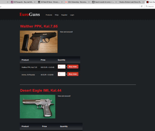 Guns Are Available For Sale On The Darknet Website Source Sme