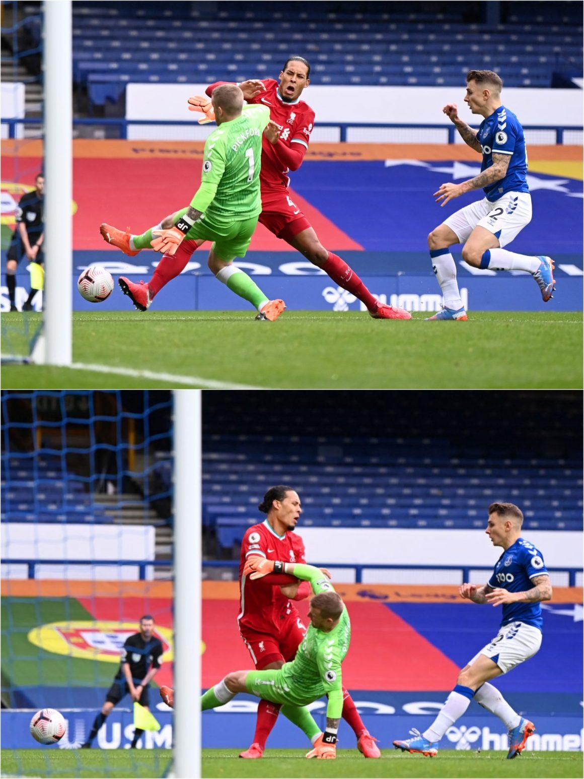 Pickford avoids punishment after injuring van Dijk with shocking challenge  | SportsJOE.ie