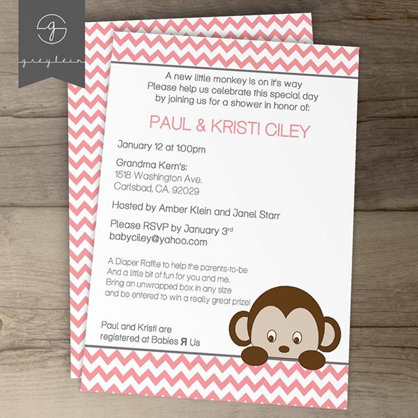 Monkey Baby Shower Invitations