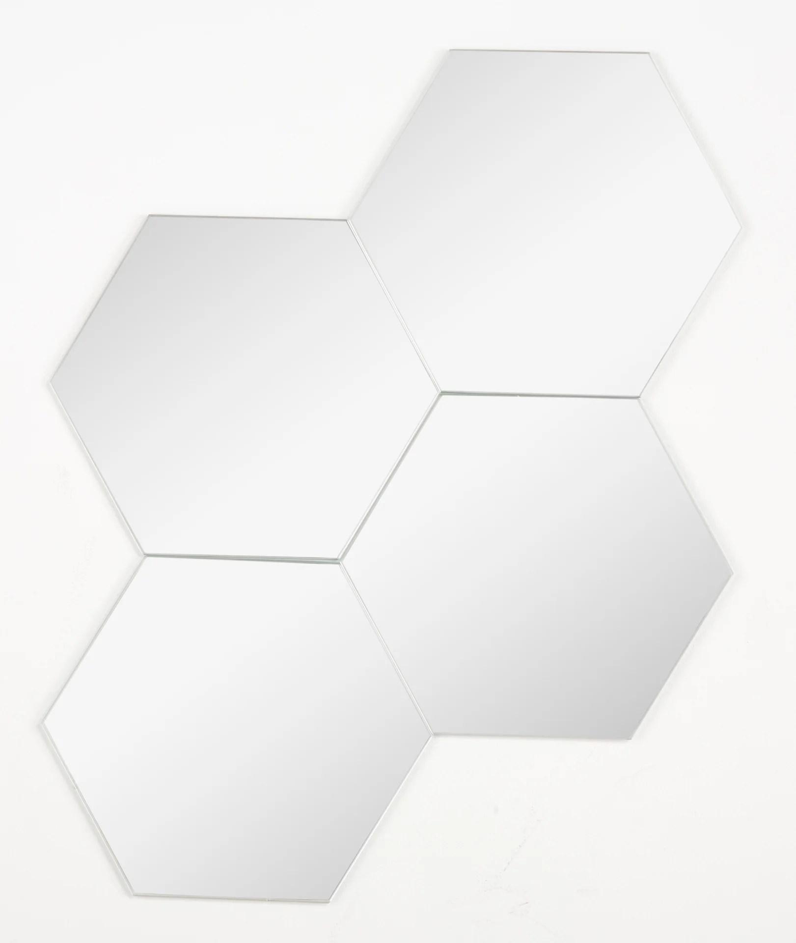 Lot De 4 Miroirs Non Lumineux Adhesifs Hexagonaux L 15 X L 15 Cm Leroy Merlin
