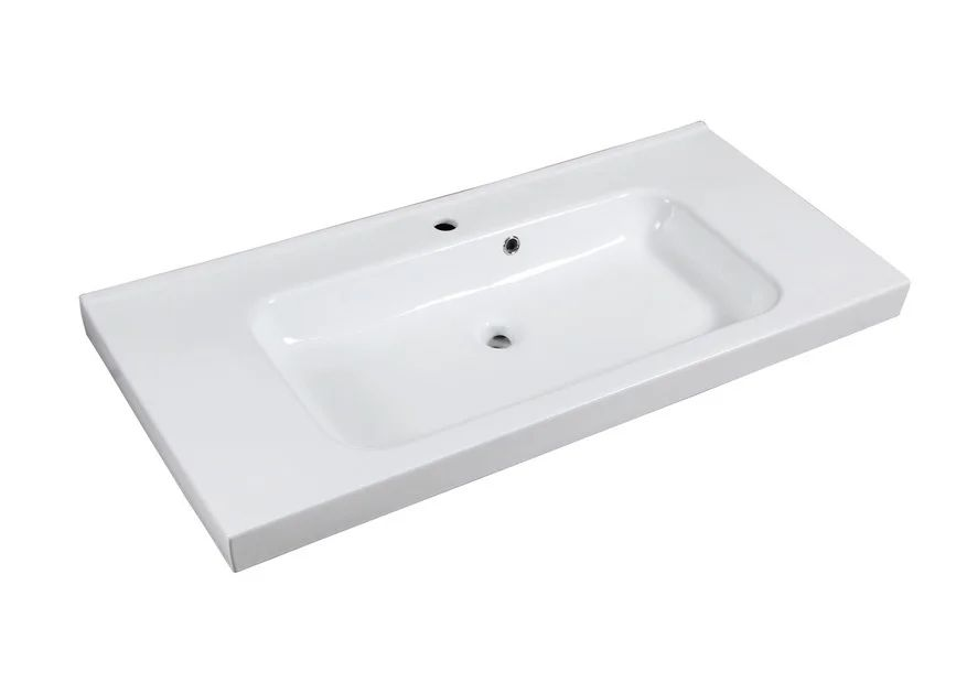 Plan Vasque Simple Ceramique Remix L 106 X P 48 5 Cm Blanc Leroy Merlin