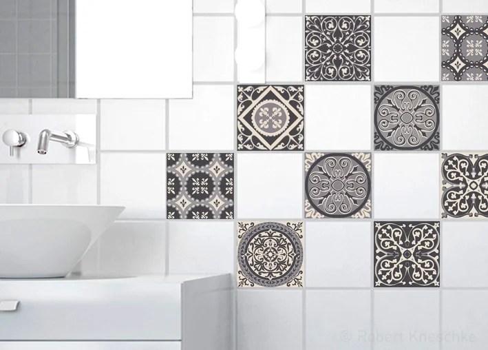 Lot De 9 Stickers Adhesifs Carrelage Mural Carreaux De Ciment Gris 10 Cm X 10 Cm Leroy Merlin