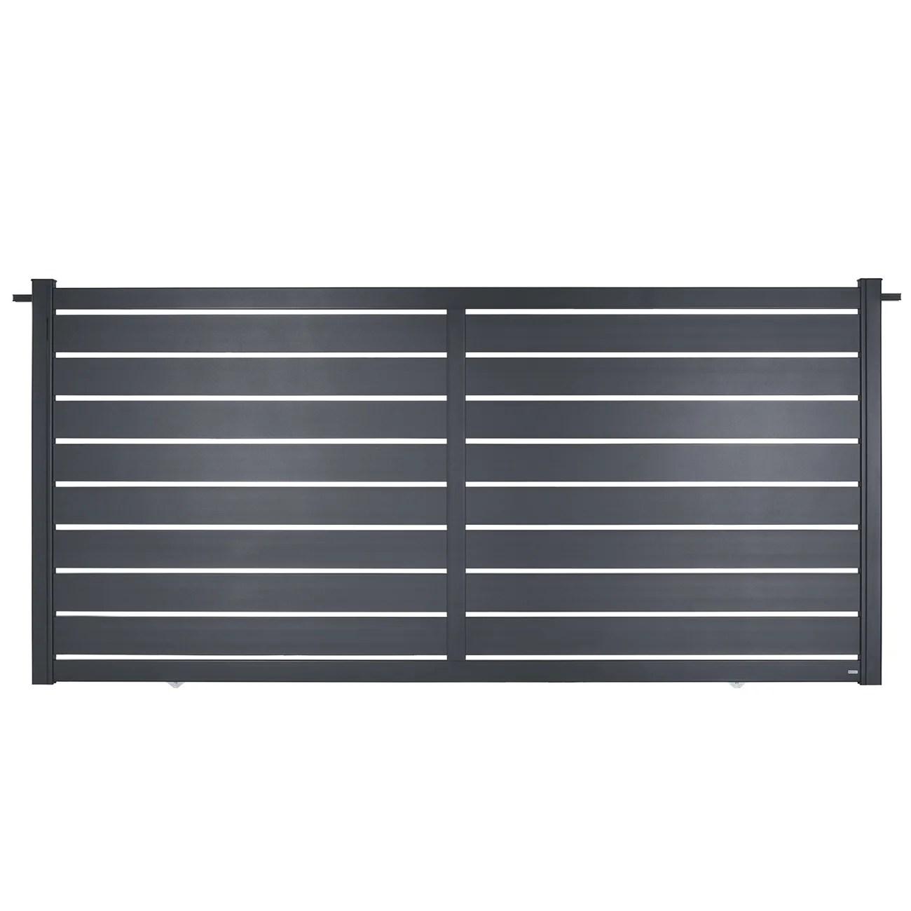 Portail Coulissant Aluminium Bono Gris Zinc Naterial L 362 X H 167 5 Cm Leroy Merlin