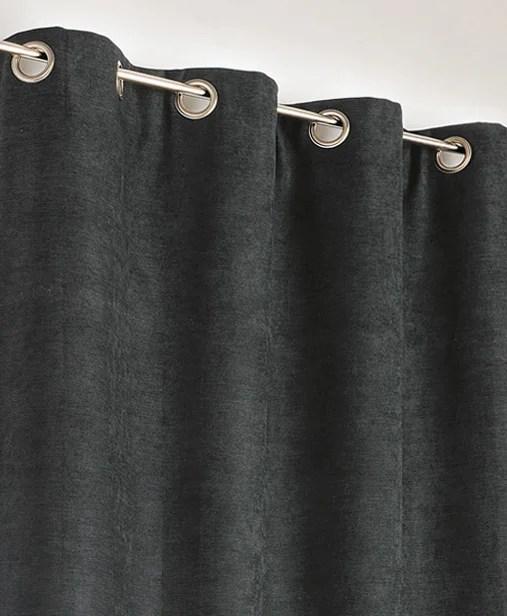 rideau occultant thermique alaska noir l 140 x h 260 cm