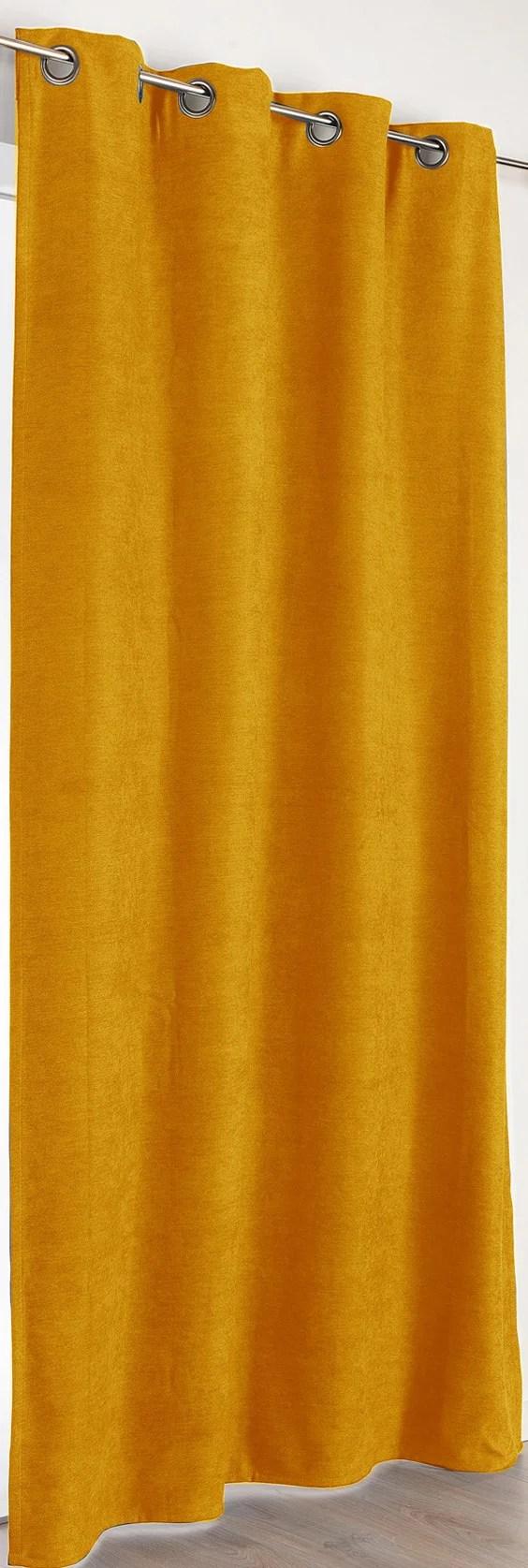 rideau occultant thermique alaska jaune moutarde l 140 x h 260 cm