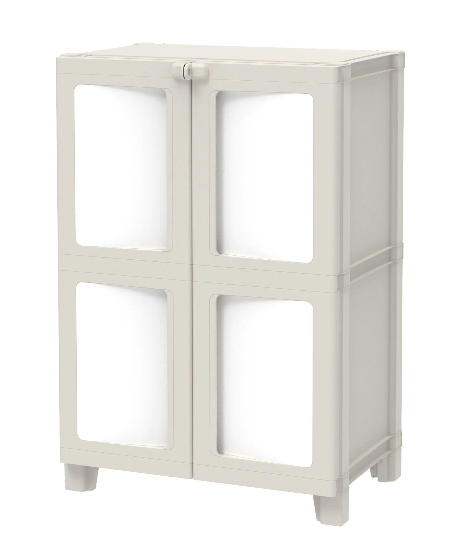 armoire basse plastique 1 etagere spaceo modulize l 65 x h 95 x p 40 cm