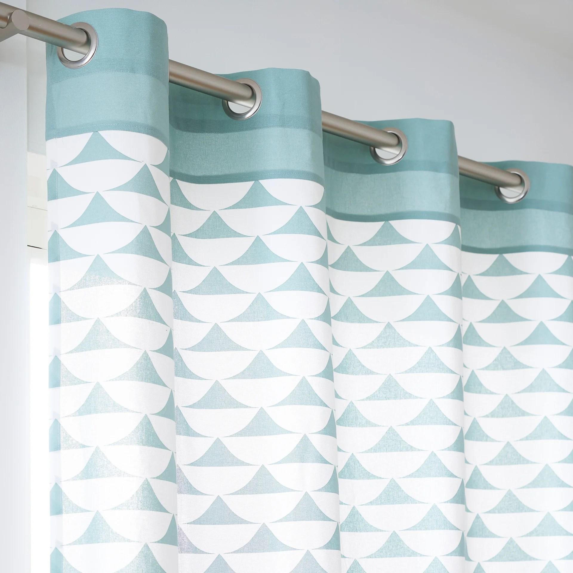 rideau tamisant coton gabi bleu l 140 x h 260 cm