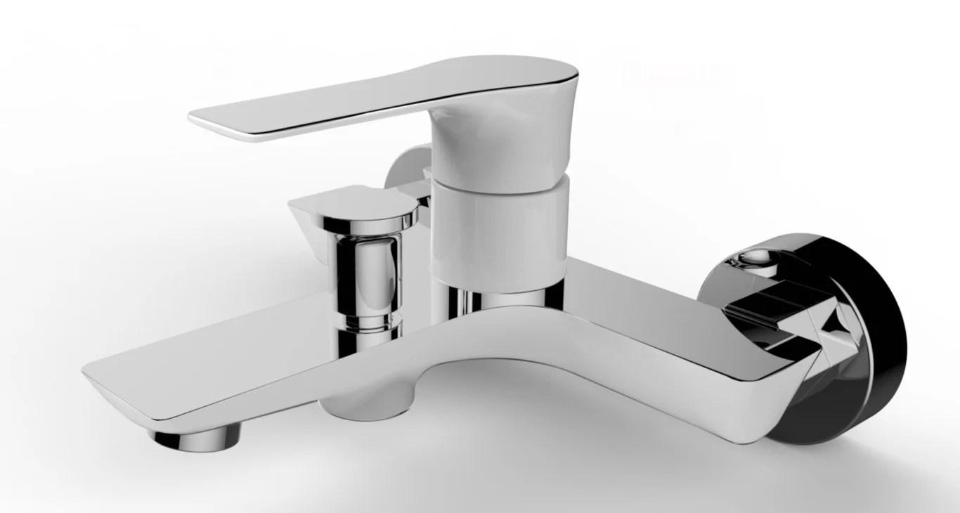 mitigeur mecanique de baignoire blanc brillant lover