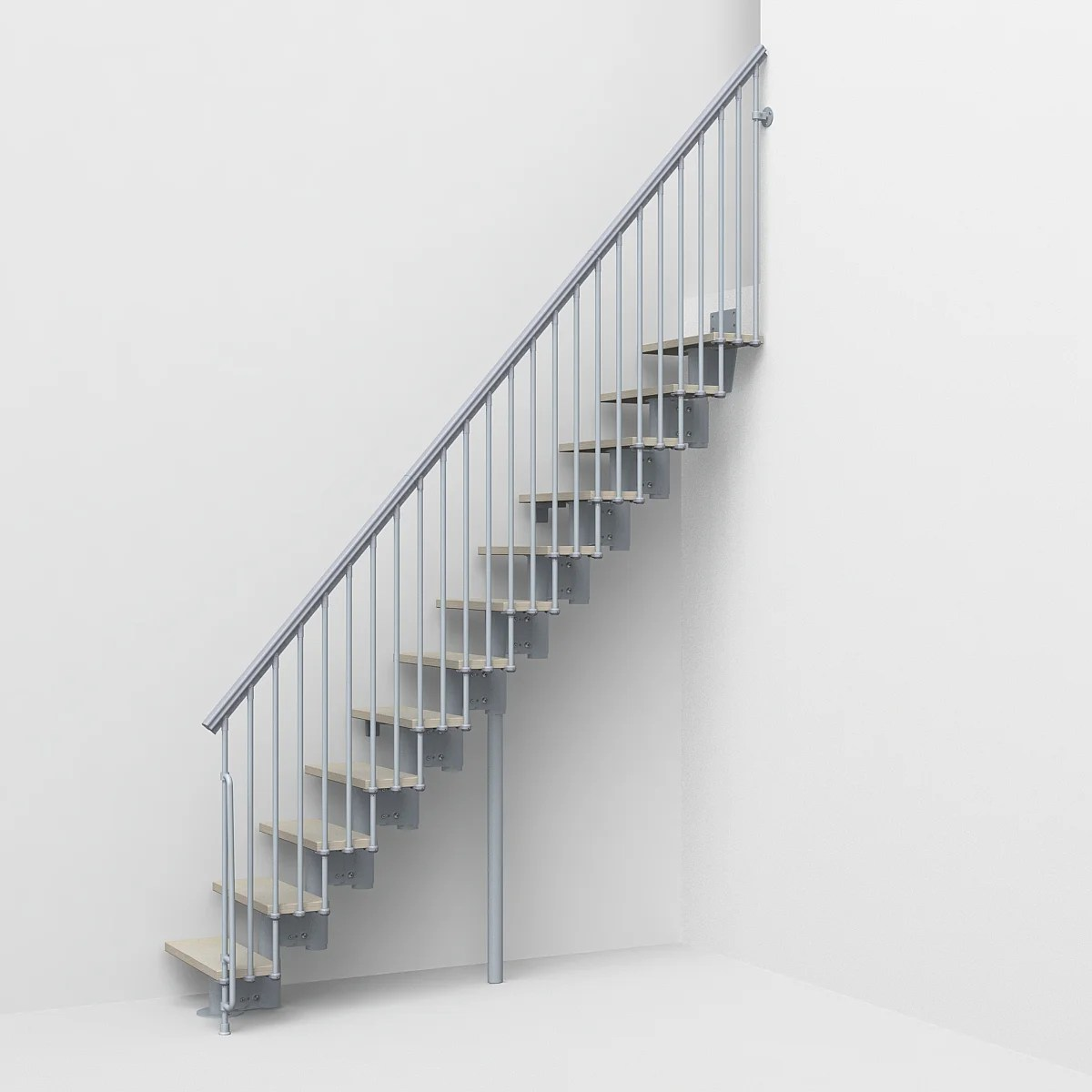 escalier droit reversible acier gris strong 2 12 marches l 64 cm