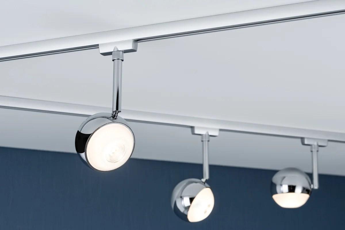 spots et suspensions pour rail led capsule metal chrome chrome mat 1 paulmann leroy merlin