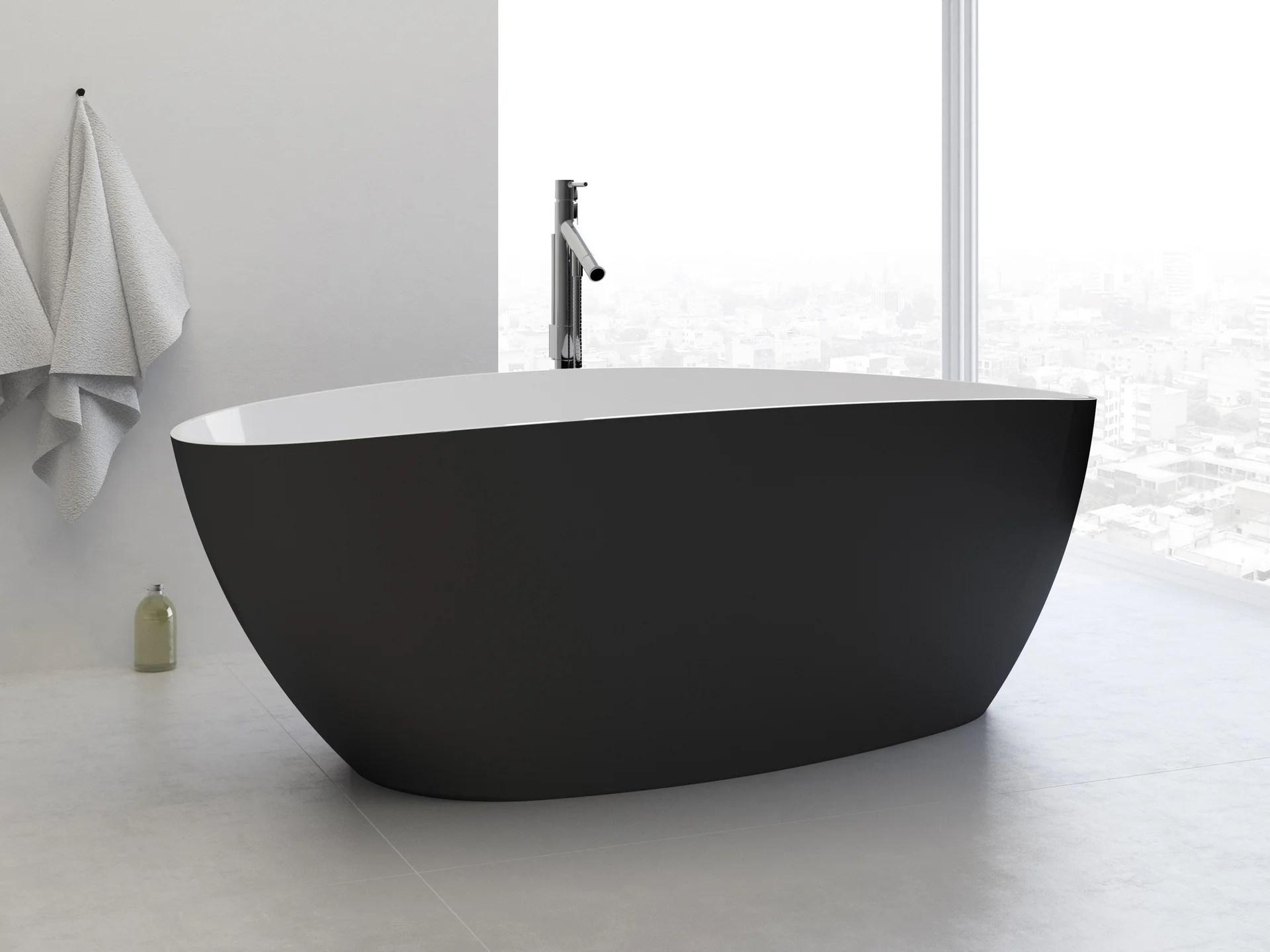baignoire ilot l 71 x l 156 cm noir stori